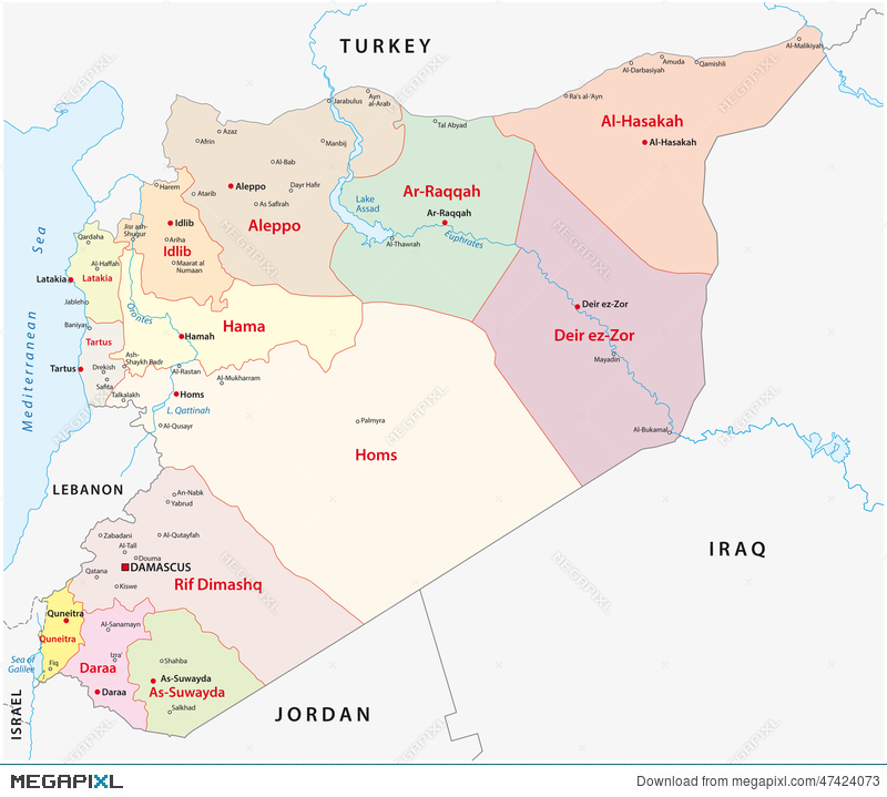 Syria Administrative Map Illustration 47424073 Megapixl