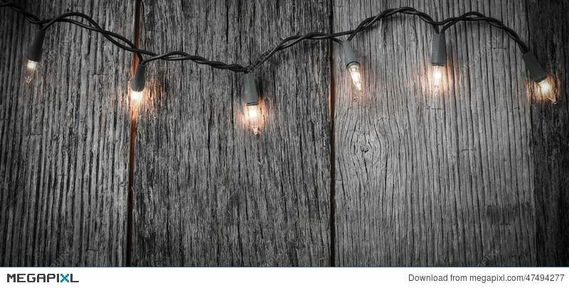 White Christmas Tree Lights With Rustic Wood
