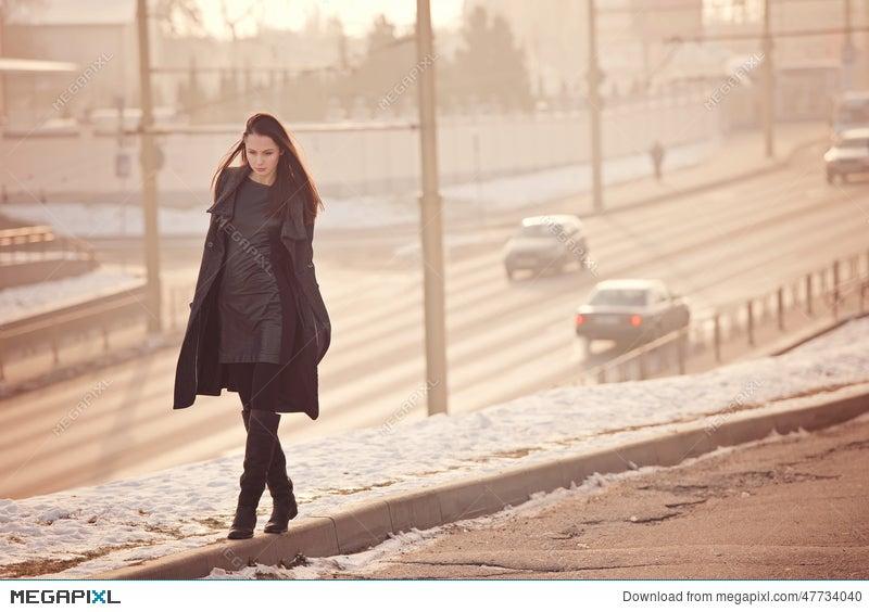 alone sad girl walking stock photo 47734040 megapixl