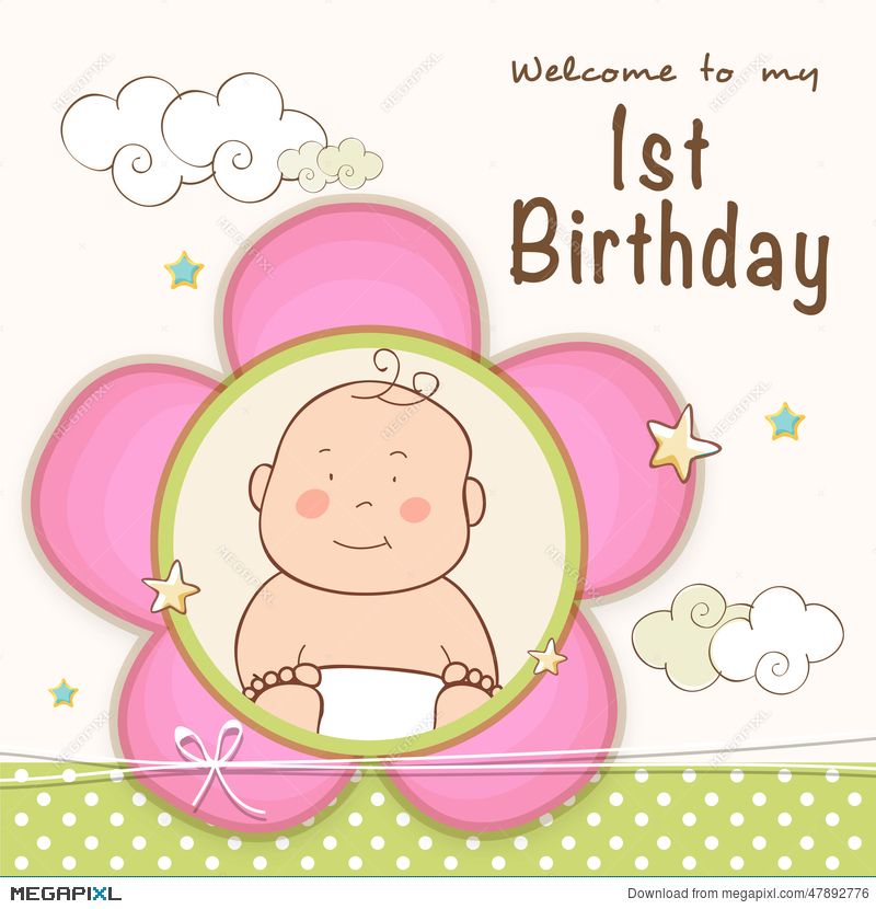 1St Birthday Invitation Card Design. Illustration 47892776 - Megapixl