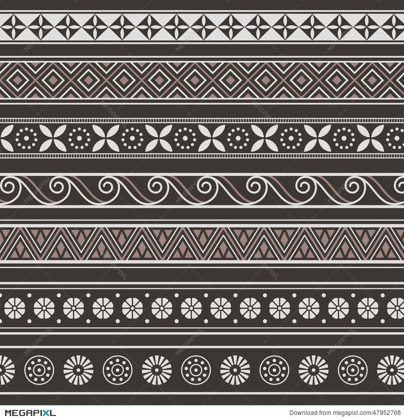 Set Of Borders, Frames With Ancient Ornaments Vector Illustration ...