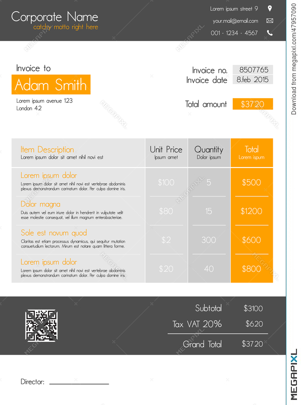 Invoice template clean modern style of orange and grey invoice template clean modern style of orange and grey maxwellsz
