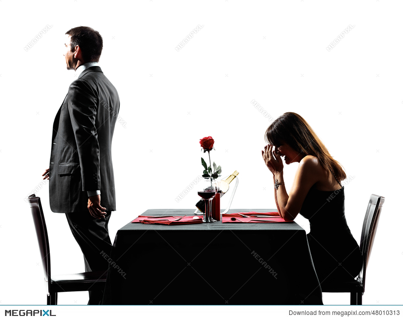 Couples Lovers Dating Dinner Dispute Separation Silhouettes Stock