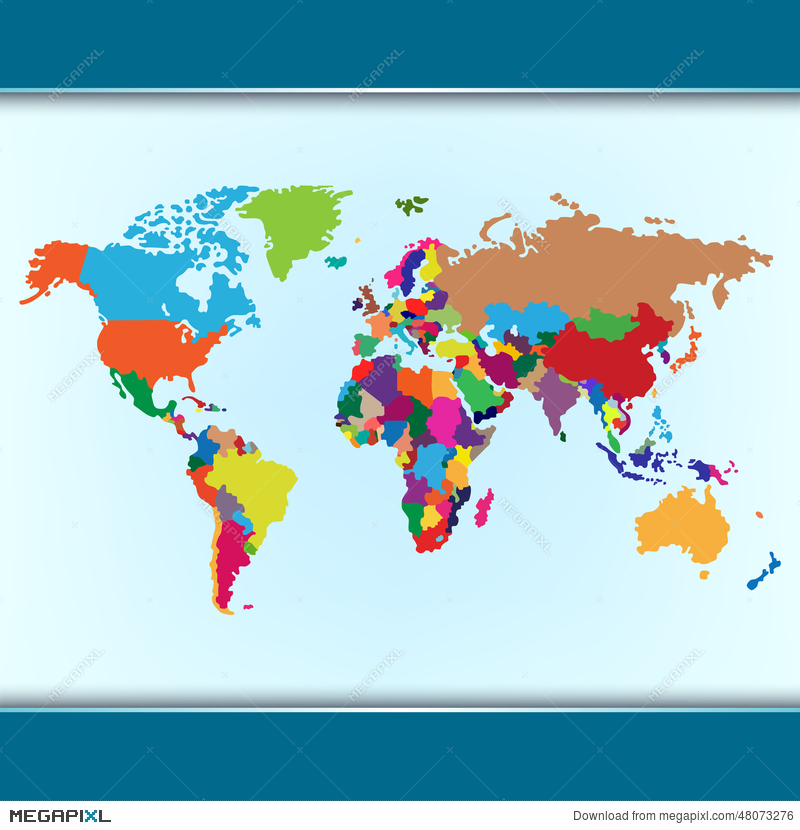 Simple colorful world map illustration 48073276 megapixl simple colorful world map gumiabroncs Gallery