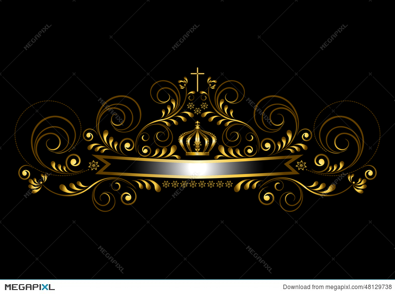 gold ribbon with a crown and a cross on a black background