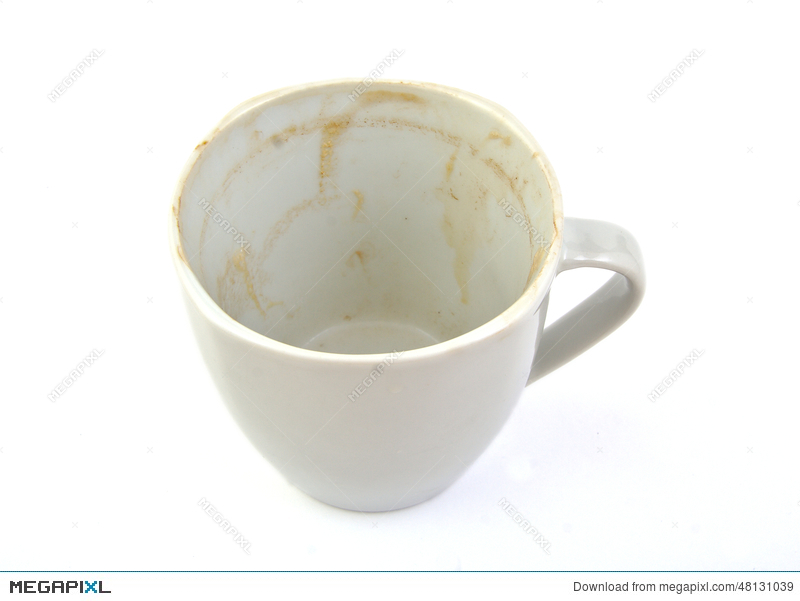 Empty and dirty coffee cup