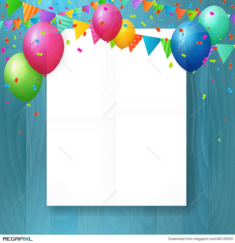 Empty Happy Birthday Greeting Card With Balloons Illustration