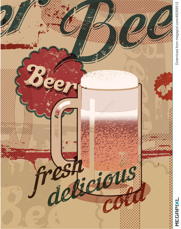 Vintage Style Poster With A Beer Mug Retro Vector