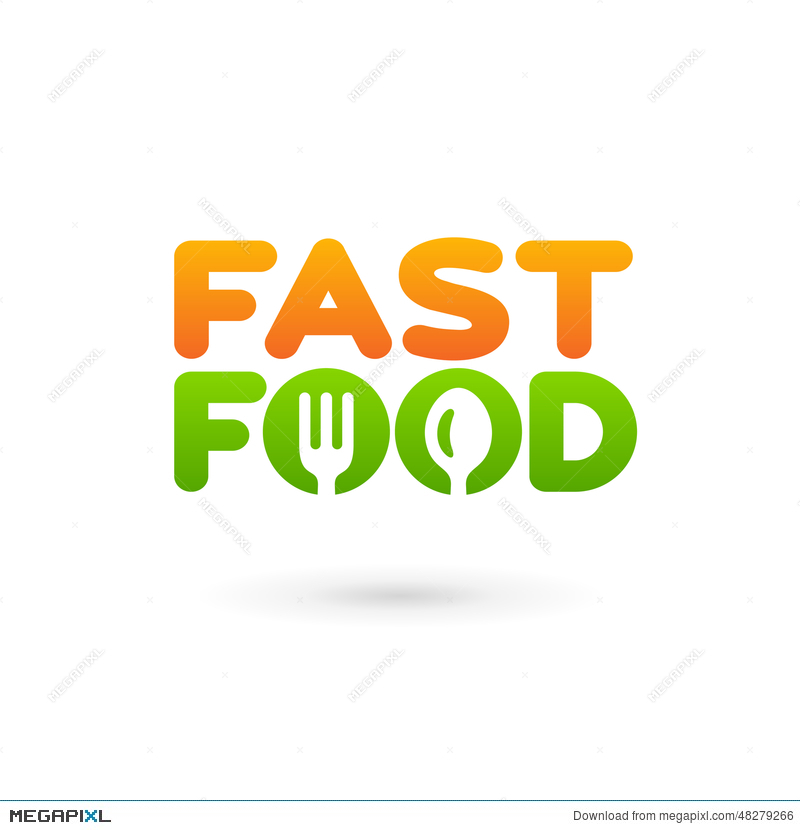 Fastfood Word Sign Logo Icon Design Template Elements With Spoon ...