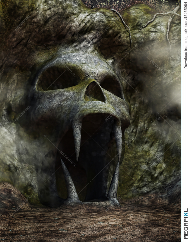 Spooky Cave Entrance Illustration 48465084 Megapixl