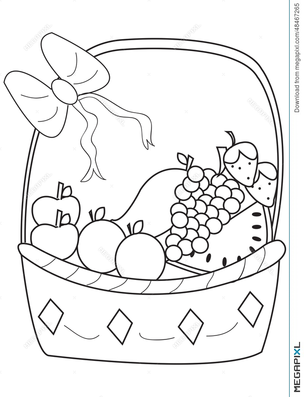 fruit-and-vegetables-basket-Apples-And-Other-Fruits-In-The-Basket-Coloring-Page-For-Kids.jpg  (520×509) | Fruit basket drawing, Fruits drawing, Fruit coloring pages