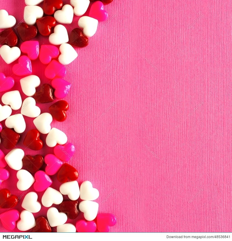 Pink Valentines Day Background With Candy Heart Border Stock Photo ...