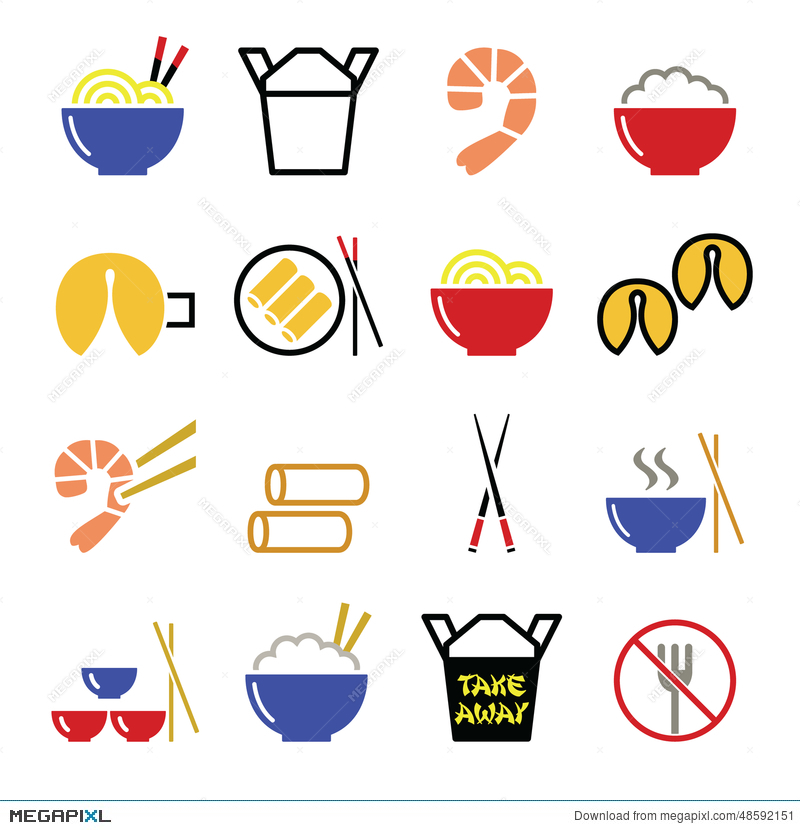Chinese Take Away Food Icons Pasta Rice Spring Rolls Fortune
