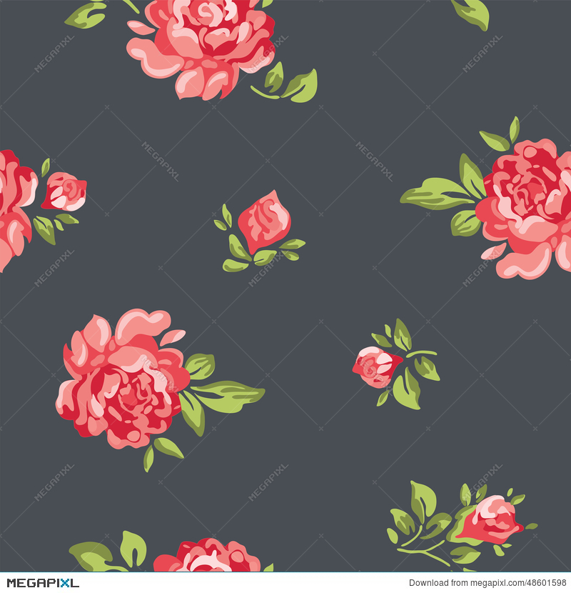Vector Vintage Seamless Floral Pattern Wallpaper With Colorful Roses