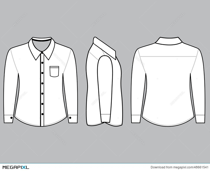 Blank Shirt With Long Sleeves Template Illustration 48661541 - Megapixl