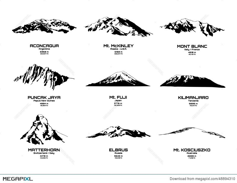 Outline Vector Illustration Of Highest Mountains Of Continents - Continents outline