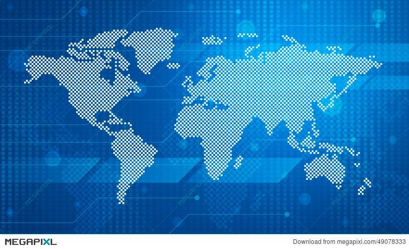 Digital world map technology style illustration 49078333 megapixl digital world map technology style gumiabroncs Choice Image