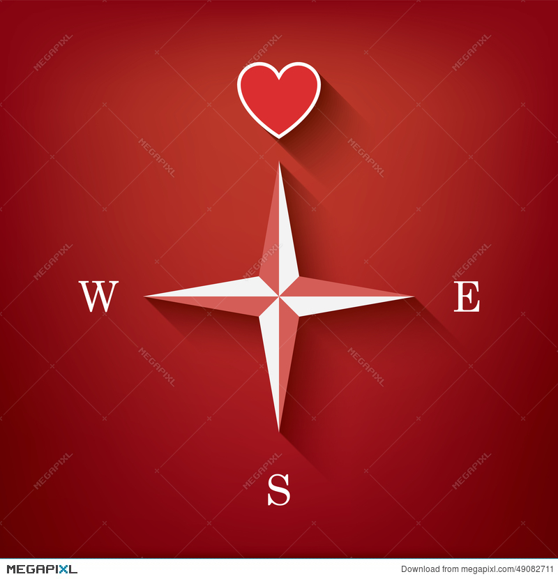 Love Compass With Heart As Symbol Of Love In One Illustration