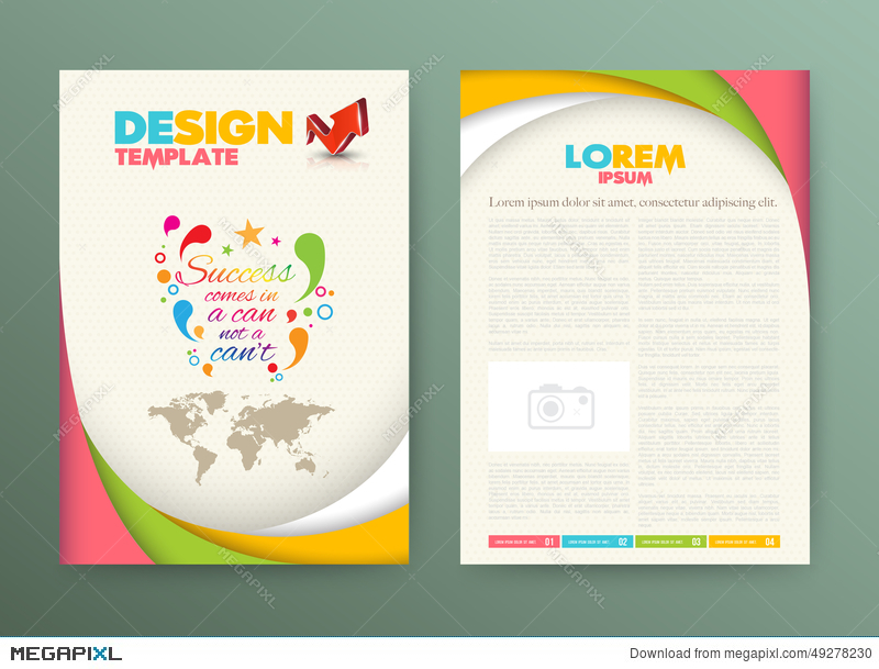 Brochure Flyer Design Layout Template With Success Illustration