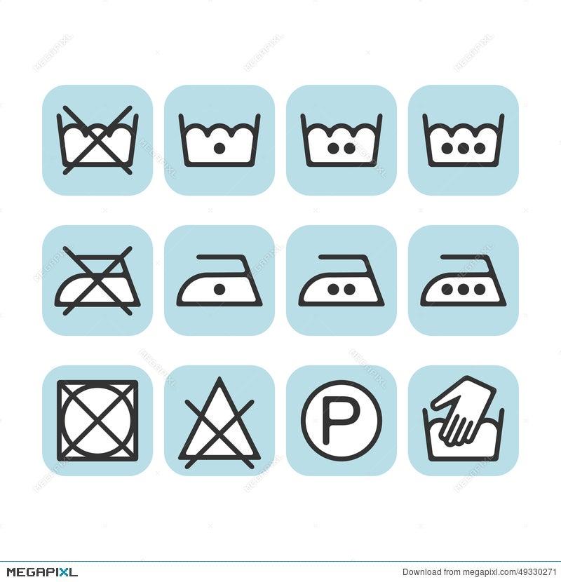 Set Of Instruction Laundry Icons, Care Icons, Washing