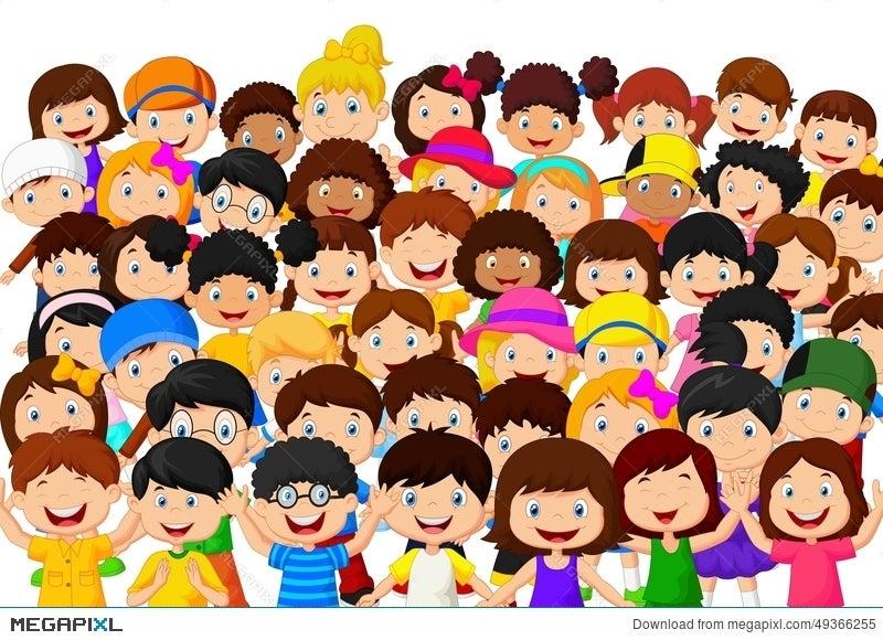 crowd of children cartoon - Free Children Cartoon