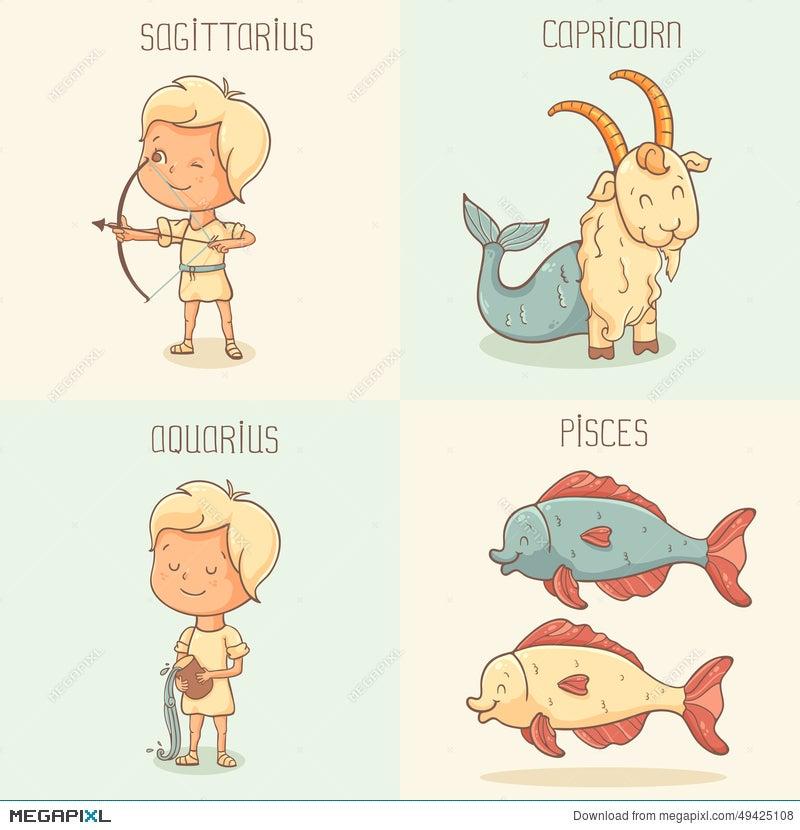 Zodiac Signs Cute Cartoon Characters Illustration 49425108 Megapixl