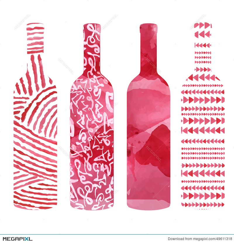 Set Of Watercolor Wine Bottles Illustration 49611318 Megapixl