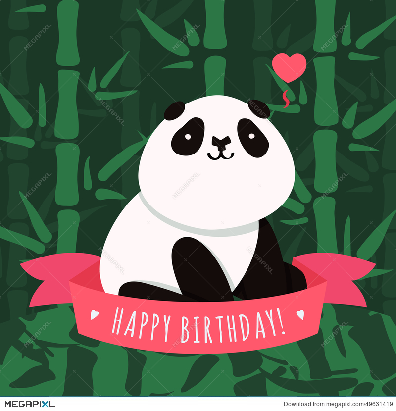 Vector Happy Birthday Card And Background With Cartoon Cute Panda