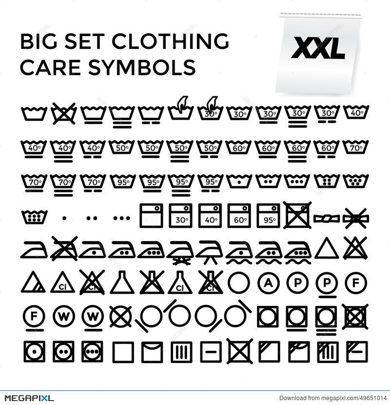 Vector Illustration Set Clothing Care Symbols Illustration 49651014
