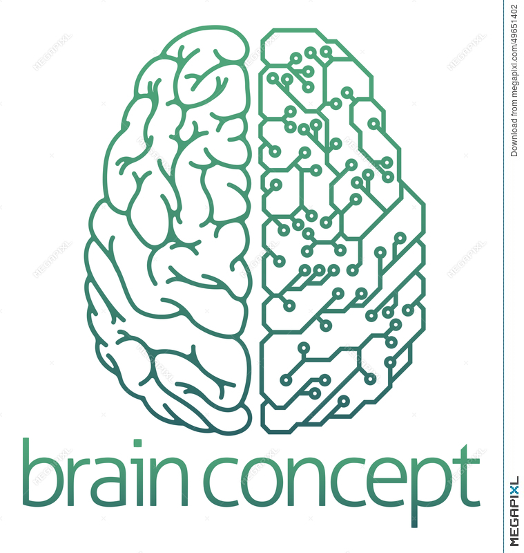 Brain Half Electrical Circuit Board Concept Illustration 49651402 ...