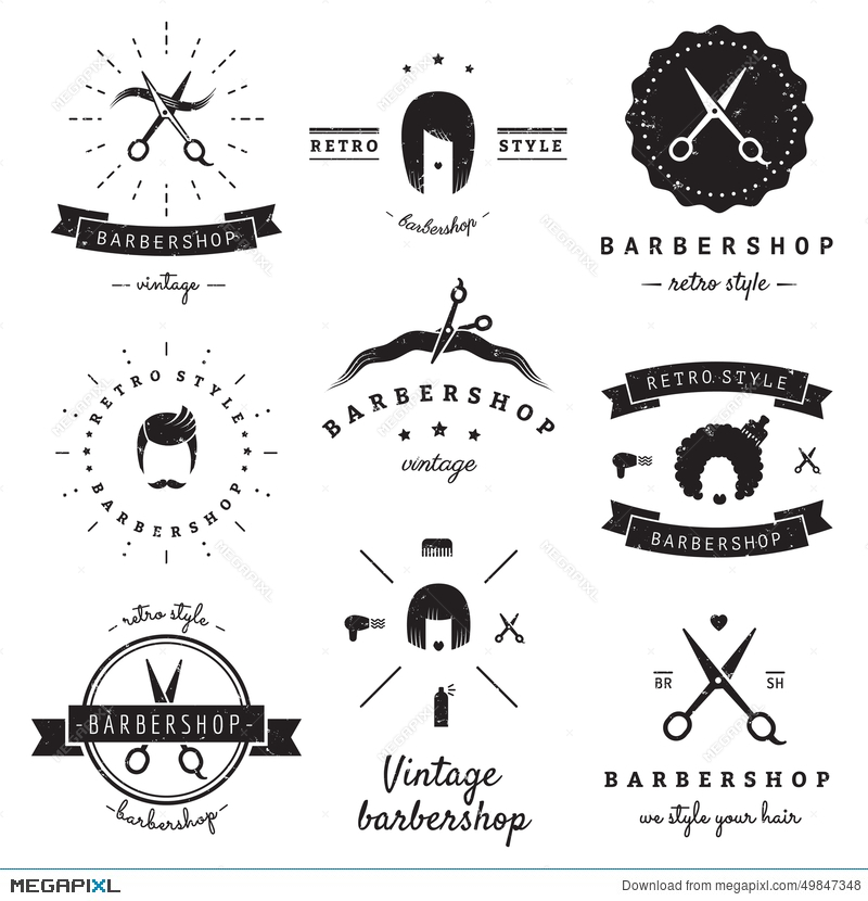 Barbershop Hair Salon Logo Vintage Vector Set Hipster And Retro Style