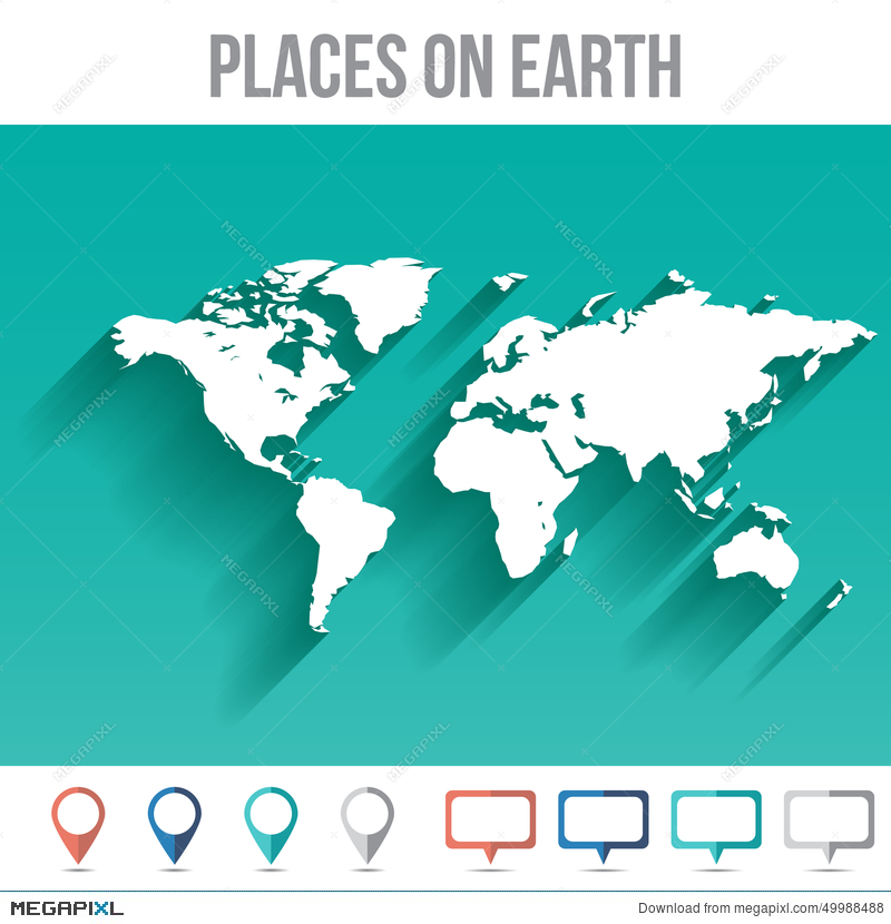 World map with pins flat design vector illustration 49988488 megapixl world map with pins flat design vector gumiabroncs Image collections