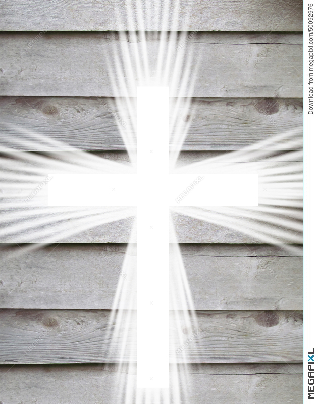 White Cross With Light Rays And Old Wooden Grey Background Christian