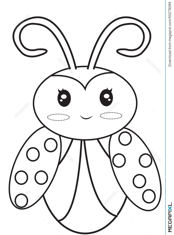 Ladybug Coloring Page Illustration 50278089 - Megapixl