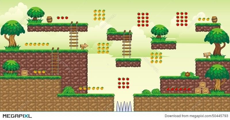 2D Tileset Platform Game 49 Illustration 50445793 - Megapixl