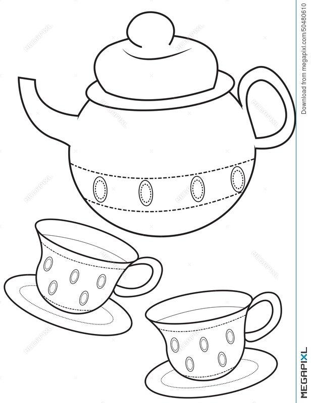 Teacup Coloring Page Illustration 50480610 Megapixl