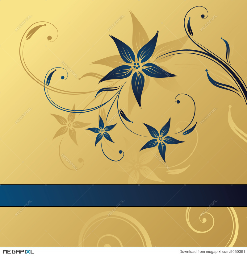 Abstract Gold Blue Floral Background