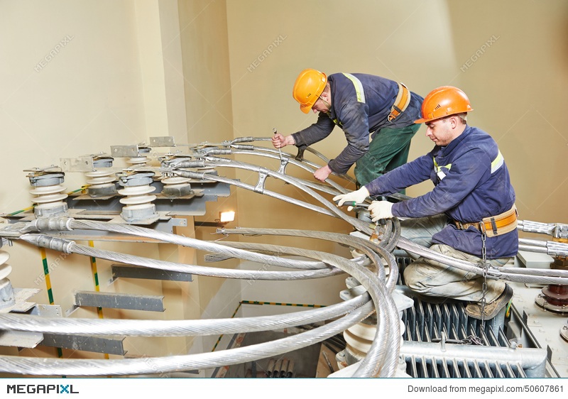 Industrial Power Electricians At Work