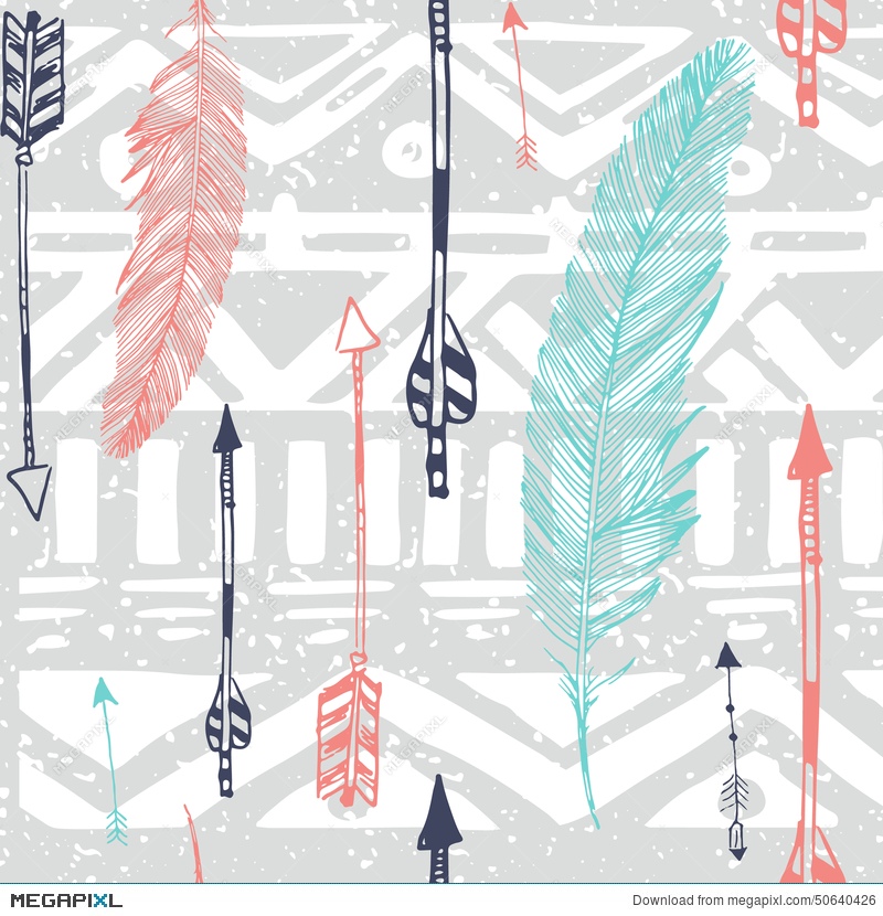 Seamless Aztec Tribal Pattern With Feather And Illustration 50640426