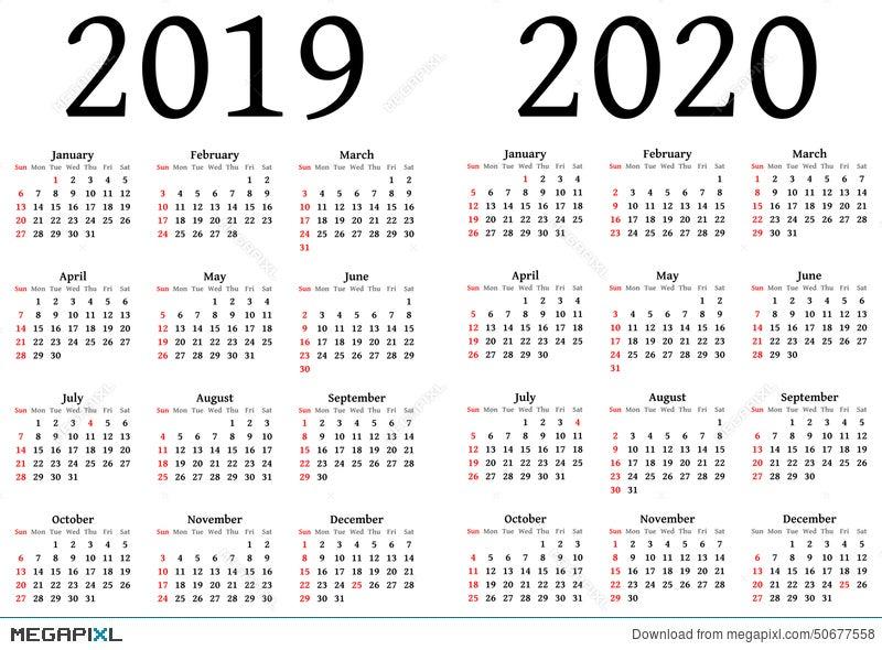 Calendario 2020 2020.Calendar For 2019 And 2020 Illustration 50677558 Megapixl