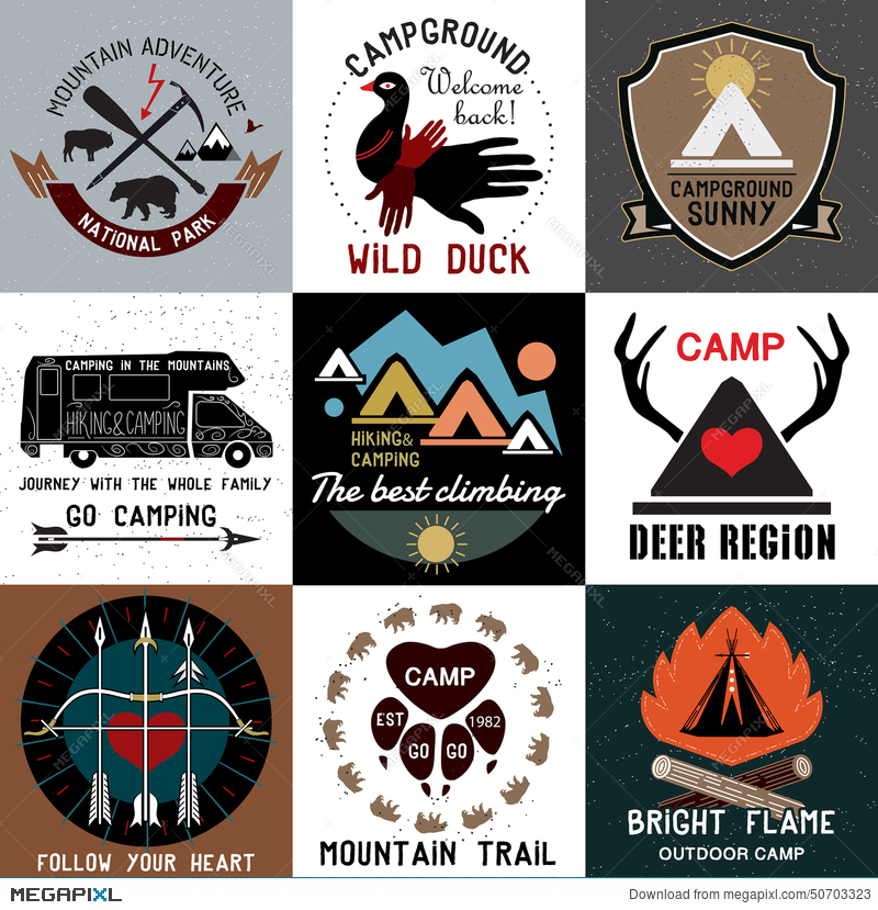 Set Of Vintage Camping Logos Symbols Of The National Park And Open