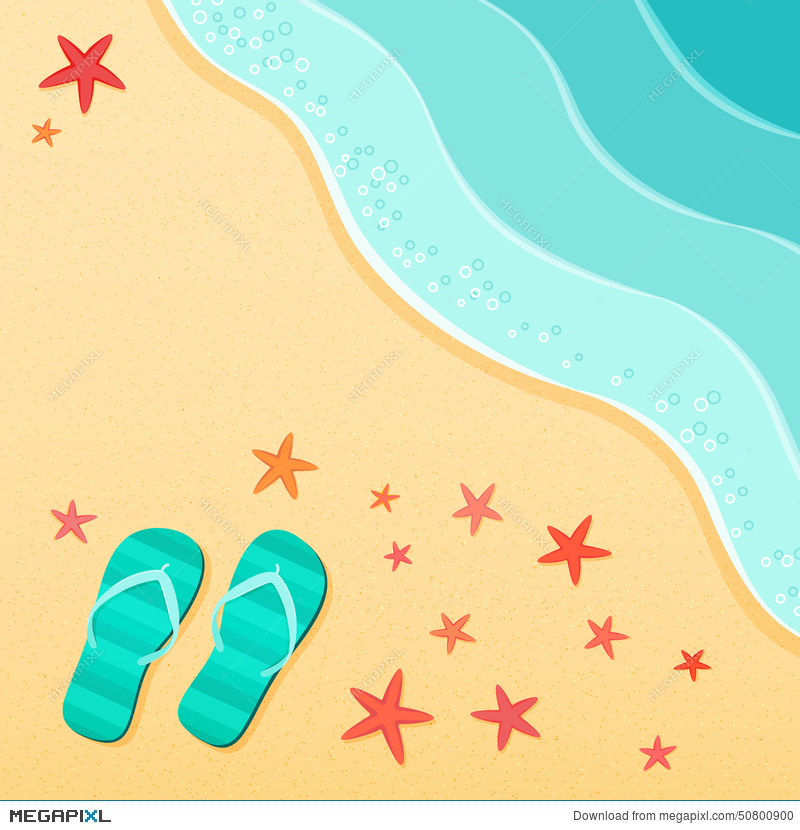 72bf0a5e8 Illustration  Summer Background With Flip Flops On A Sea Beach With  Starfish Shells.
