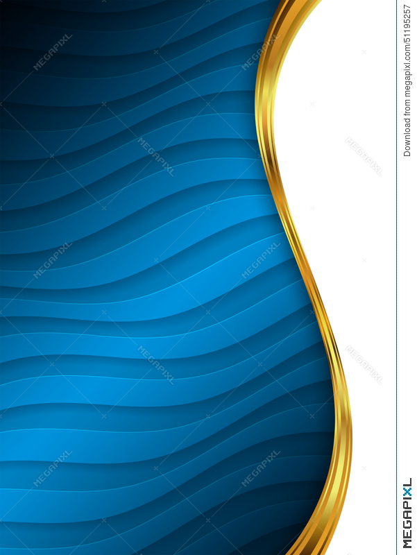Blue And Gold Abstract Background Template For Website Banner