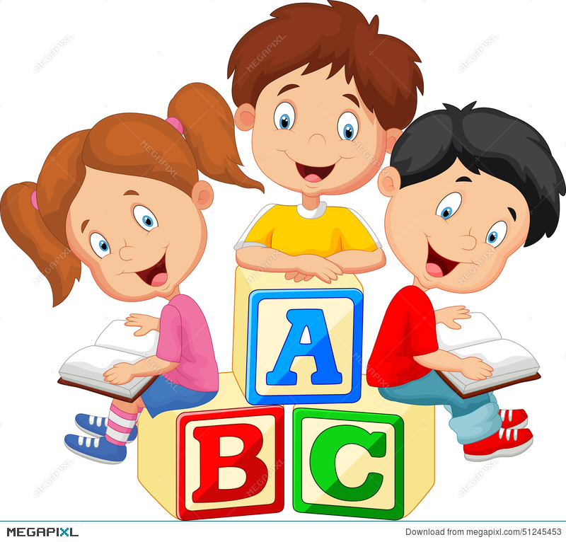 children cartoon reading book and sitting on alphabet blocks - Cartoon Image Of Children