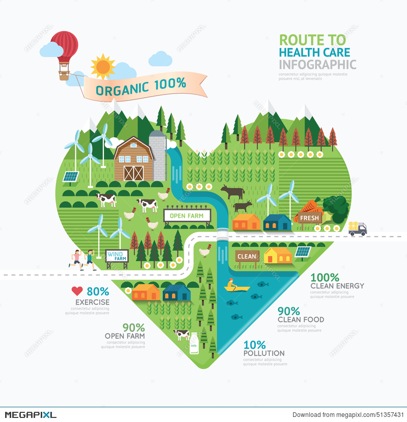 infographic health care heart shape template design route