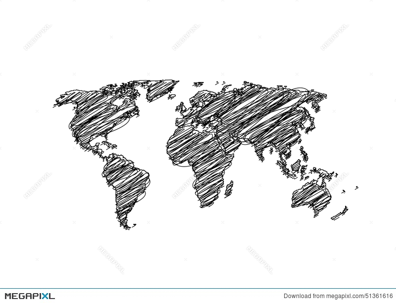 Hand sketch world map globe illustration 51361616 megapixl hand sketch world map globe freerunsca Image collections