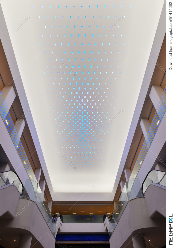 New Type Of LED Lighting Used On Modern Commercial Building Ceiling