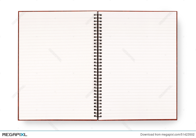 Blank Open Spiral Writing Book Or Notepad, Lined Paper, Isolated On White  Background  Lined Blank Paper