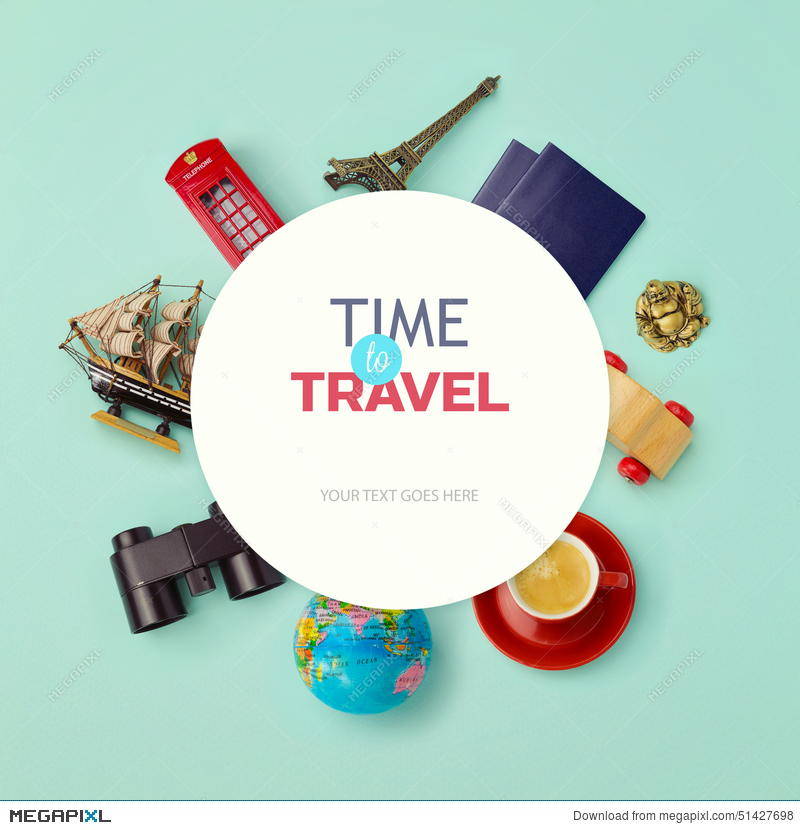 f1e6f5291d9d6 Summer Vacation Background Mock Up Design. Objects Related To Travel ...