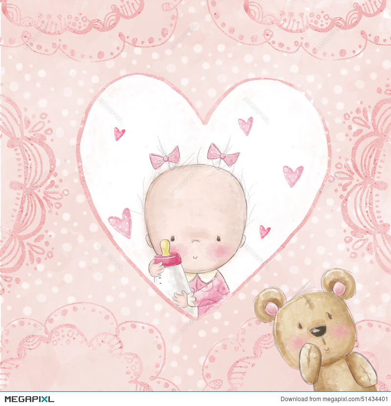 Baby shower greeting cardby girl with teddylove background for baby shower greeting cardby girl with teddylove background for childrenptism m4hsunfo